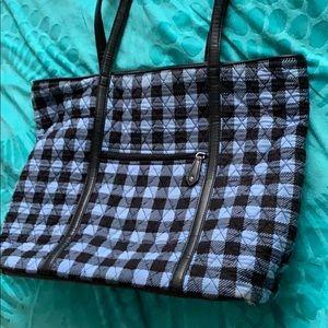 VERA BRADLEY tote, blue & black checkered